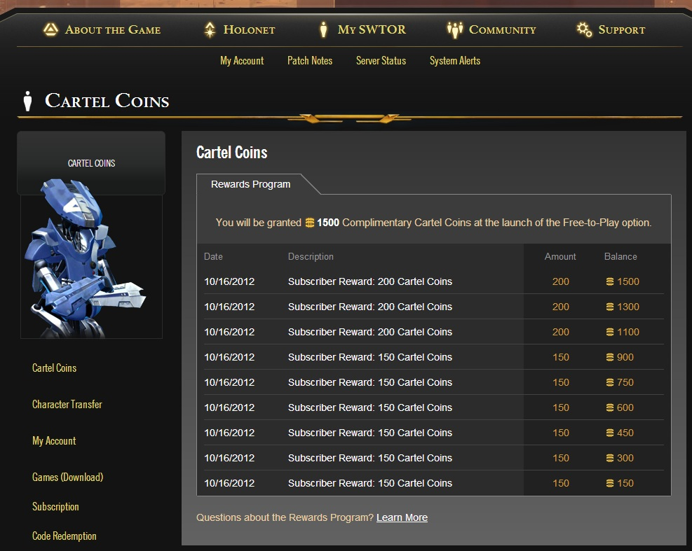 swtor complimentary cartel coins