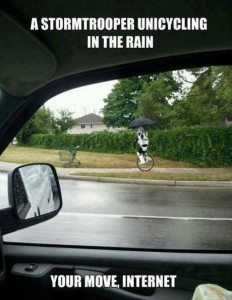 Stormtrooper on a unicycle